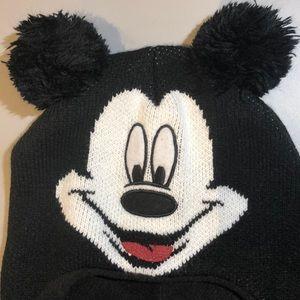 Disney Mickey Pom Pom Ears Adult Winter Knit Hat